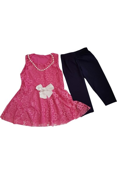 Mini Çitlenbik Pembe Taytlı Kız Elbiseli Takım