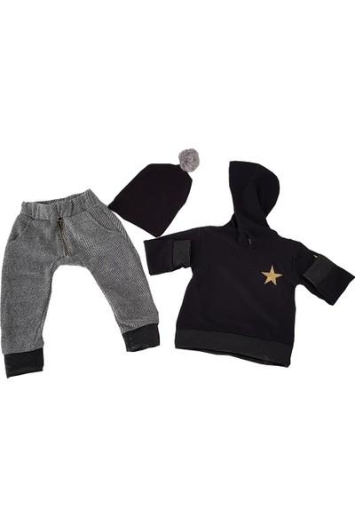 Berra Siyah-Gri Yıldızlı Erkek Çocuk Takım