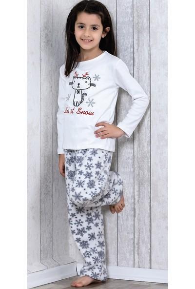 Lingabooms Let İt Snow Kedi Nakışlı 2'li Çocuk Pijama Takım LB3036