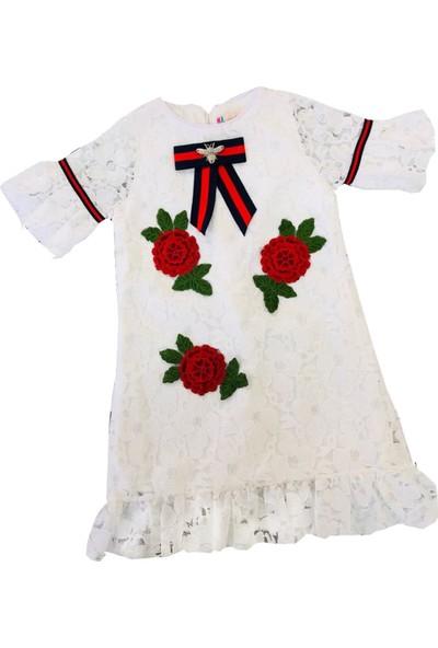 Ha Güllü Dantelli Kız Çocuk Elbise