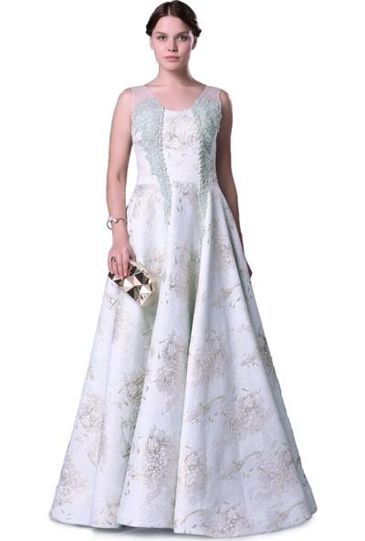 Carmen Mint Jakar Desenli Uzun Kabarık Abiye Elbise