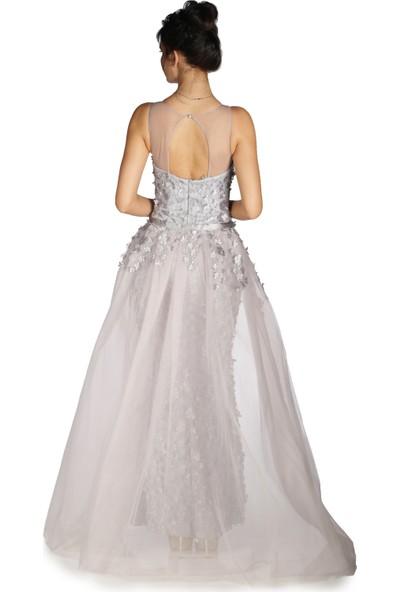 Carmen Gri Çiçekli Pelerinli Uzun Abiye Elbise