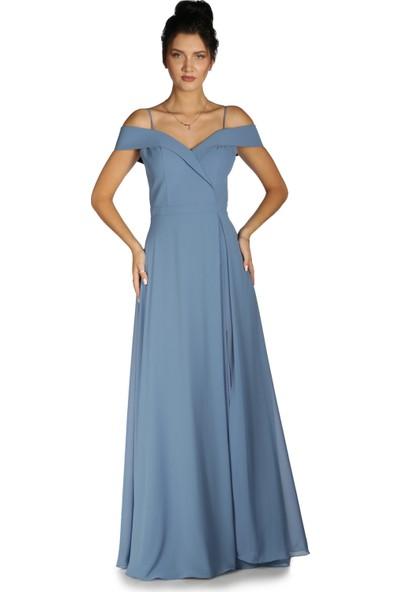Carmen İndigo Düşük Omuzlu Uzun Abiye Elbise
