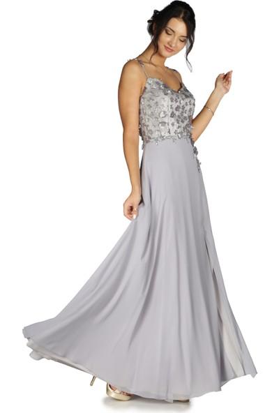 Carmen Gri Üstü Çiçekli Şifon Uzun Abiye Elbise