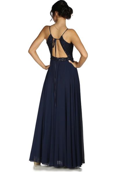 Pierre Cardin Lacivert Askılı Pul Payetli Uzun Abiye Elbise