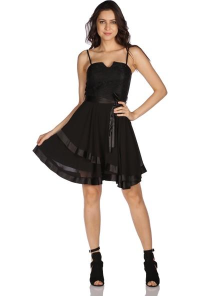 6ixty8ight Siyah Etek Ucu Saten Garnili Kısa Abiye Elbise