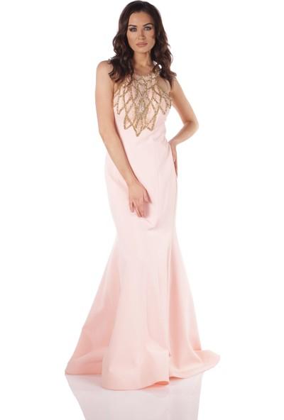 Carmen Pudra Taşlı Uzun Balık Abiye Elbise