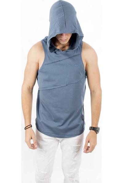Deepsea İndigo Mavi Kapşonlu Önü Pileli Ve Armalı Likralı Yeni Sezon Askılı Erkek Atlet 1802538