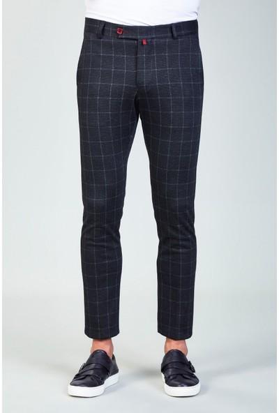 AVVA Antrasit Erkek Slim Fit Kareli Kumaş Pantolon A82Y3047