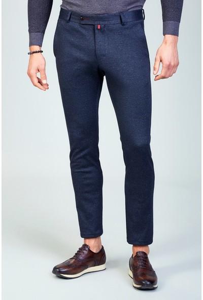 AVVA Lacivert Erkek Slim Fit Desenli Kumaş Pantolon A82Y3048