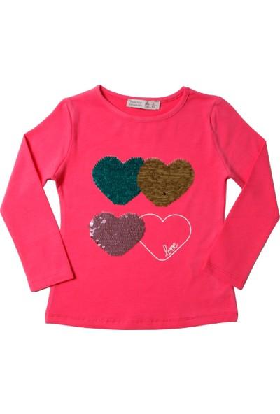 Toontoy Kız Çocuk Sweatshirt Renkli Pullu Kalp Nakış - 2 Yaş - 92Cm Boy