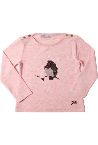 Toontoy Kız Çocuk Sweatshirt Baykuş Nakışlı - Pembe Melanj - 1 Yaş - 86Cm Boy