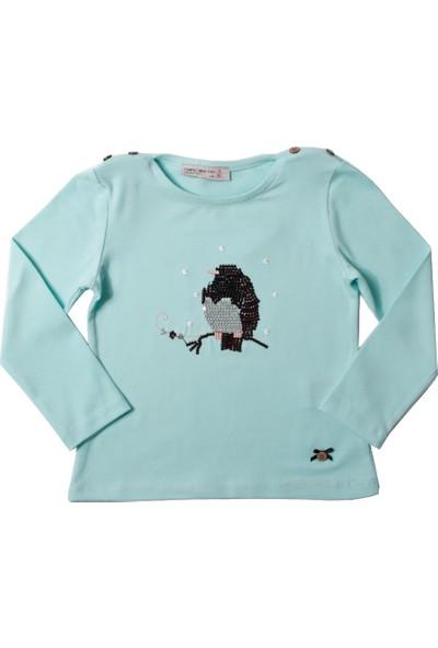 Toontoy Kız Çocuk Sweatshirt Baykuş Nakışlı - Mint Yeşili - 3 Yaş- 98Cm Boy