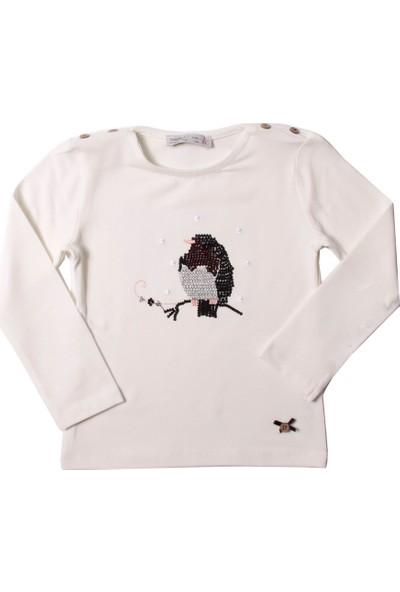 Toontoy Kız Çocuk Sweatshirt Baykuş Nakışlı - Ekru - 4 Yaş - 104Cm Boy
