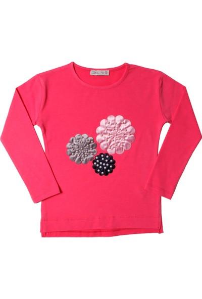 Toontoy Kız Çocuk Sweatshirt Çiçek Nakışlı İnci Çakma - 7 Yaş - 122Cm Boy