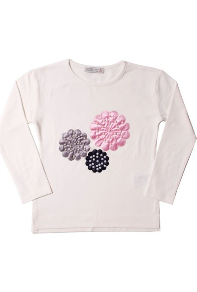 Toontoy Kız Çocuk Sweatshirt Çiçek Nakışlı İnci Çakma - 5 Yaş - 110Cm Boy