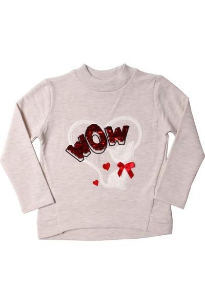 Toontoy Kız Çocuk Sweatshirt Wow Pullu Kedi Nakışlı - 4 Yaş - 104Cm Boy