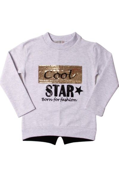Toontoy Kız Çocuk Sweatshirt Cool Star Pullu Nakışlı - 5 Yaş - 110Cm Boy