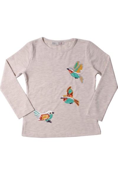 Toontoy Kız Çocuk Sweatshirt Pul Nakışlı Kuş - 5 Yaş - 110Cm Boy