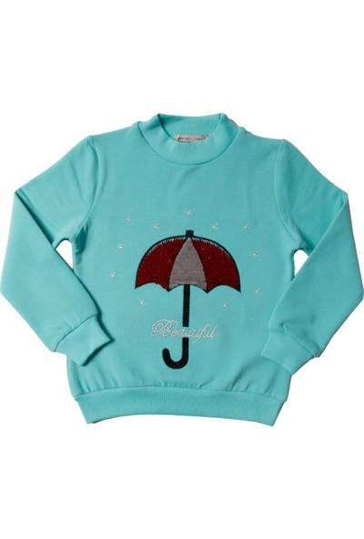 Toontoy Kız Çocuk Sweatshirt Renkli Pullu Şemsiye Nakışlı - 4 Yaş - 104Cm Boy