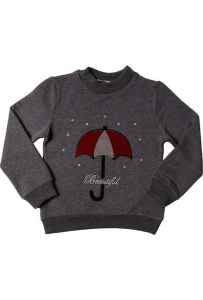 Toontoy Kız Çocuk Sweatshirt Renkli Pullu Şemsiye Nakışlı - 3 Yaş- 98Cm Boy