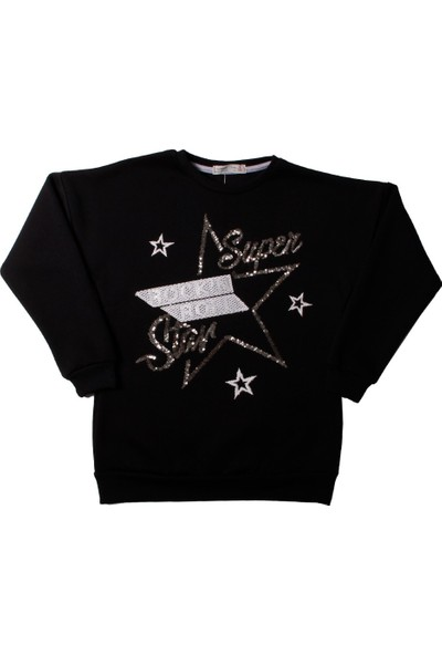 Toontoy Kız Çocuk Sweatshirt Pullu Star Nakışlı - Siyah - 12 Yaş - 152Cm Boy