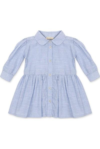 Tülü Akkoç Mavi Çizgili Uzun Kollu Elbise