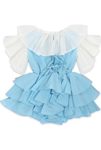 Tülü Akkoç Kat Kat Fırfırlı Elbise -Mavi