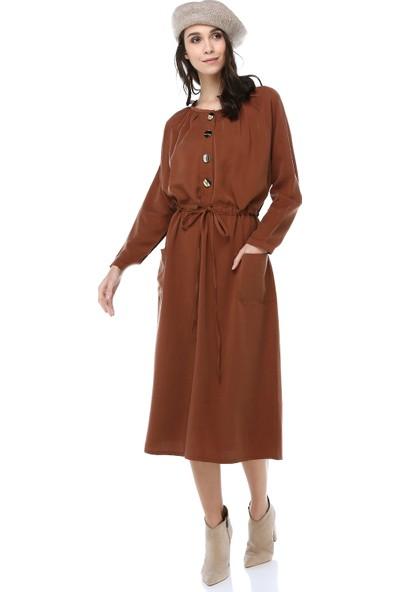 Cream&Rouge Kadın 18K126 Beli Büzgülü Elbise