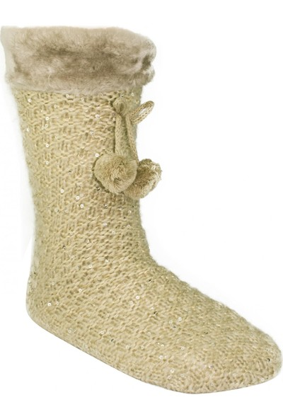 Twigy Nn0750 Tw Walker Peluş Çorap Bej Kadın Tekstil