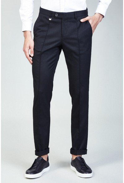 AVVA Siyah Erkek Düz Slim Fit Duble Paça Kumaş Pantolon A82Y3014