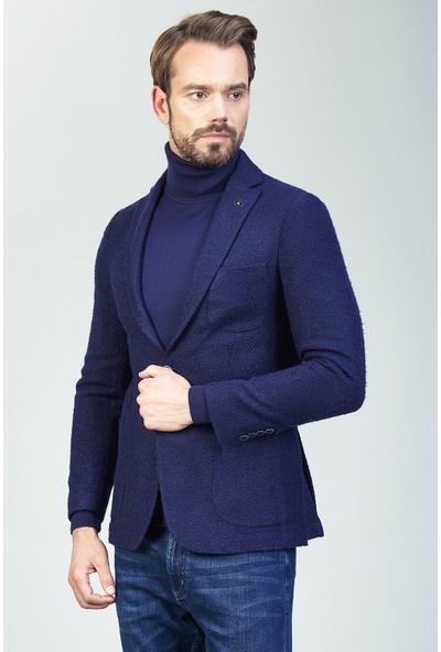 AVVA Lacivert Erkek Desenli Uzun Kol Slim Fit Kurt Yaka Ceket A82Y4014