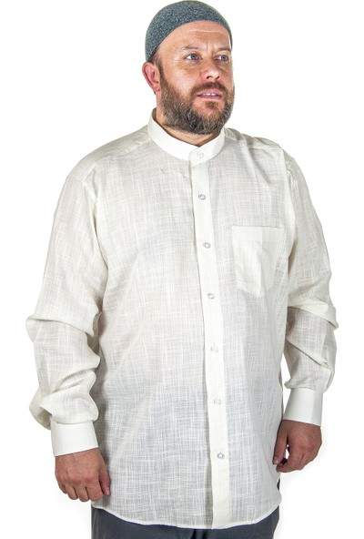 İhvan Hac Umre Kıyafeti Keten Gömlek - Açık Krem