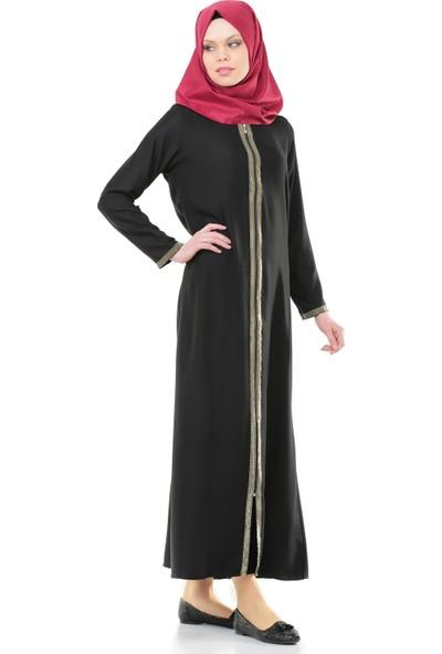 İhvan 5009-1 Fermuarlı Siyah Namaz Elbisesi