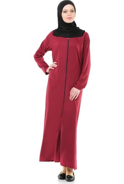 İhvan 5008-3 Bordo Pratik, Kendinden Örtülü Namaz Elbisesi