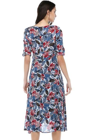 Cream&Rouge Kadın 17Y275 Vual Desenli V Yaka Vatkalı Elbise