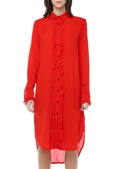Cream&Rouge Kadın 18K107 Kol Ön Fırfırlı Gömlek Elbise