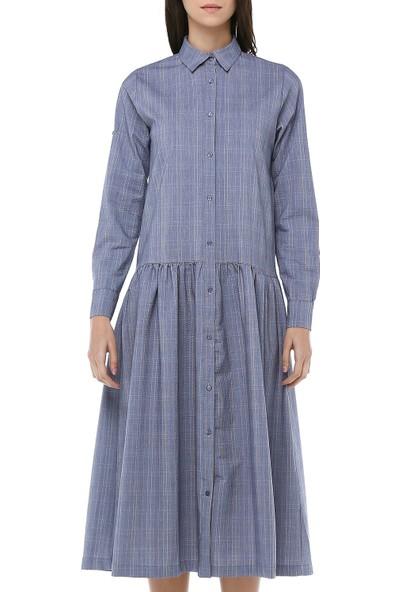 Cream&Rouge Kadın 18K177 Alt Fırfırlı Gömlek Elbise