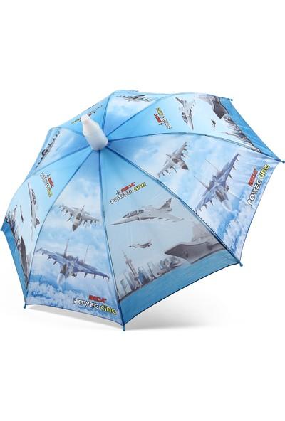 Almera Pvc Kılıflı Erkek Çocuk Şemsiyesi - Uçaklı