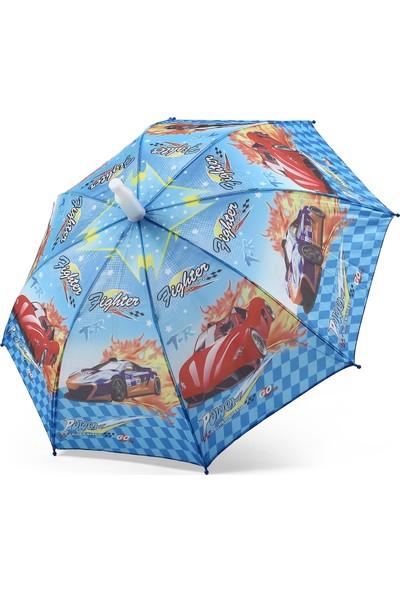Almera Pvc Kılıflı Erkek Çocuk Şemsiyesi - Cars Mavi