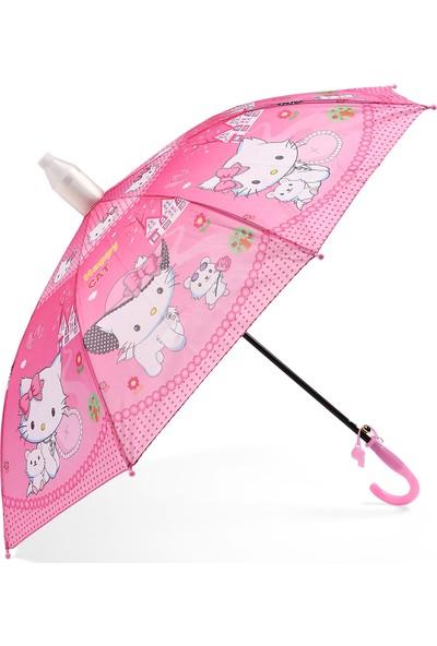 Almera Pvc Kılıflı Kız Çocuk Şemsiyesi - Happy Cat Pembe