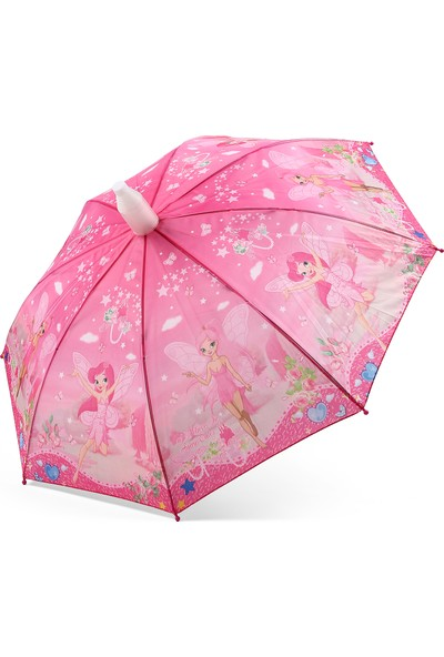 Almera Pvc Kılıflı Kız Çocuk Şemsiyesi - Peri Kızı Pembe