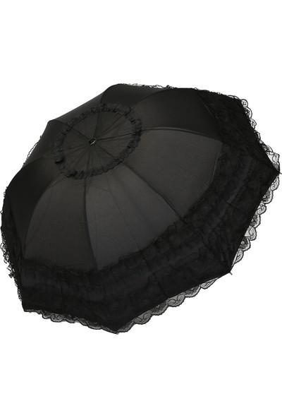 Almera Konsept Çantalı Siyah Tüllü Katlanır Şemsiye