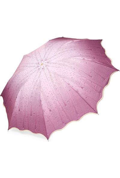 Almera Konsept Yağmur Damlalı Mor Katlanır Şemsiye