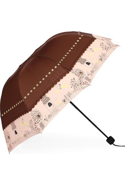 Almera Kahverengi Honolulu Konsept Katlanır Şemsiye