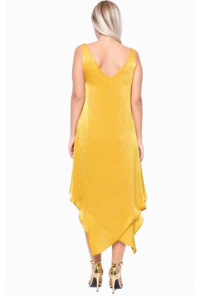 İroni Katlı Volanlı Saten Hardal Mini Elbise - 5211-1262 Hardal