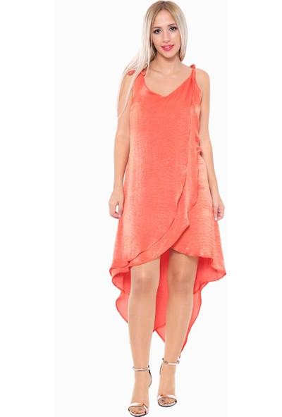 İroni Katlı Volanlı Saten Tarçın Mini Elbise - 5211-1262 Tarcın