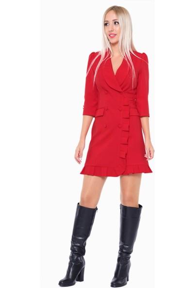 İroni Fırfır Detaylı Kırmızı Ceket Elbise - 5213-891 Kırmızı