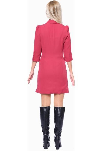 İroni Fırfır Detaylı Vişne Ceket Elbise - 5213-891 Vısne