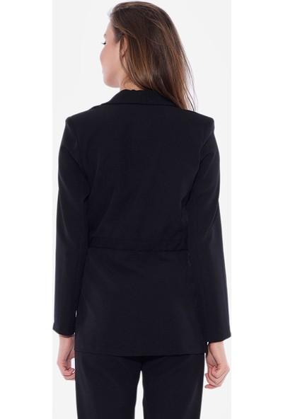 İroni Beli Kuşaklı Siyah Ceket - 6469-891 Siyah